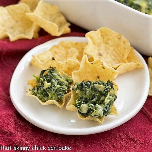 Cheesy Spinach Dip on tortilla chips