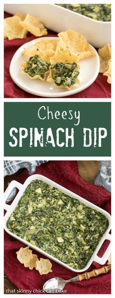 Cheesy Spinach Dip | Spinach, artichoke hearts and lots of cheese will make this the favorite dip at every party!