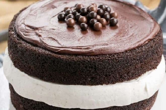Chocolate Ding Dong Cake with vanilla bean whipped cream filling