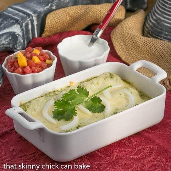 Enchiladas Suizas | Authentic Mexican Chicken Enchiladas with a creamy green sauce
