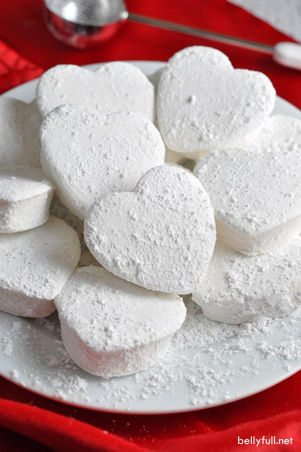Homemade Heart Marshmallows on a white plate