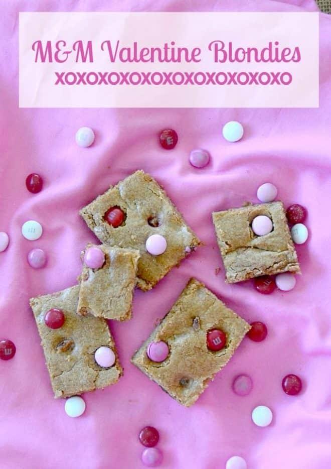 M&M Valentine Blondies on a pink background