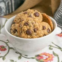 Oatmeal Chocolate Chip Cookies | Chewy and packed full of two kinds of chocolate chips