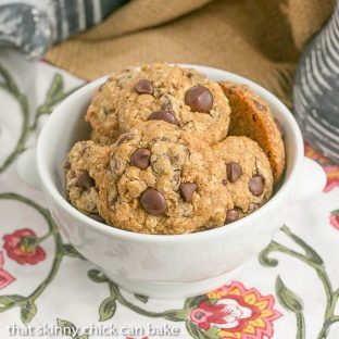 bowl full of Oatmeal Cookies with Chocolate Chips