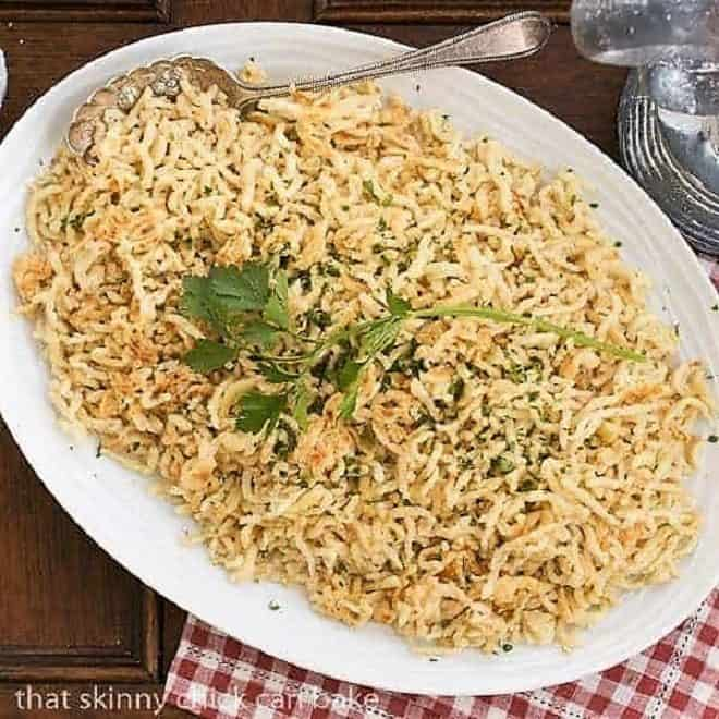 Spaetzel (German egg noodles) on a large serving platter