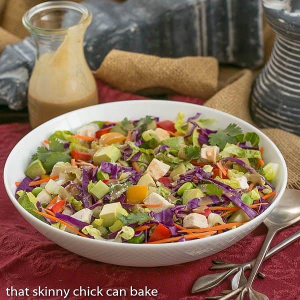 A vibrant, crunchy Asian salad with a peanut dressing