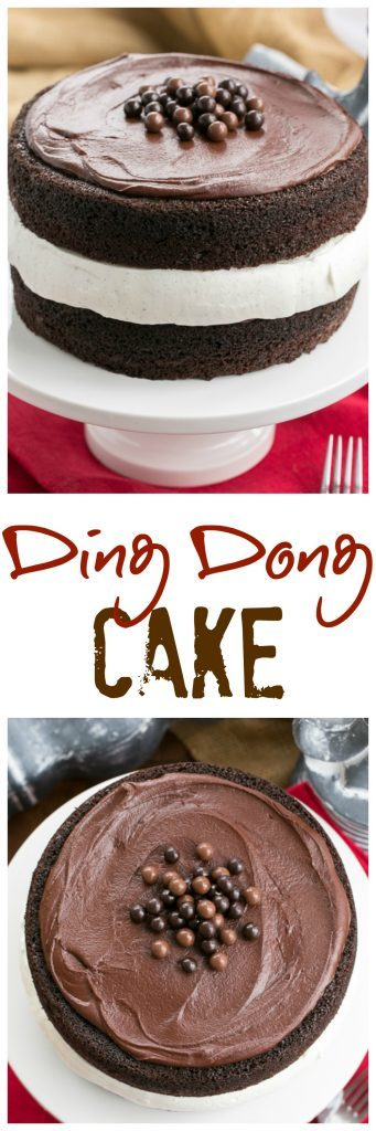 Ding Dong Cake   2 thick moist chocolate cake layers filled with vanilla cream and topped with caramel infused ganache