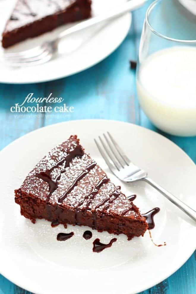 Flourless Chocolate Cake slice on a white plate