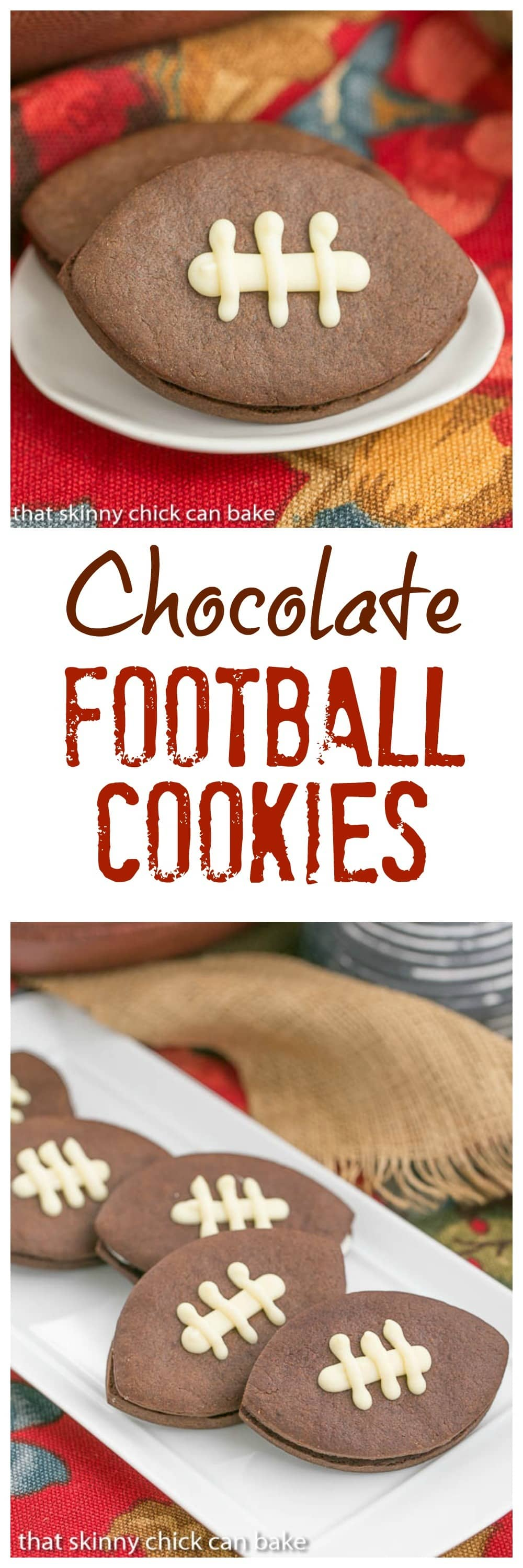 Chocolate Football Cookies | Chocolate cut-out cookies filled with buttercream and caramel!