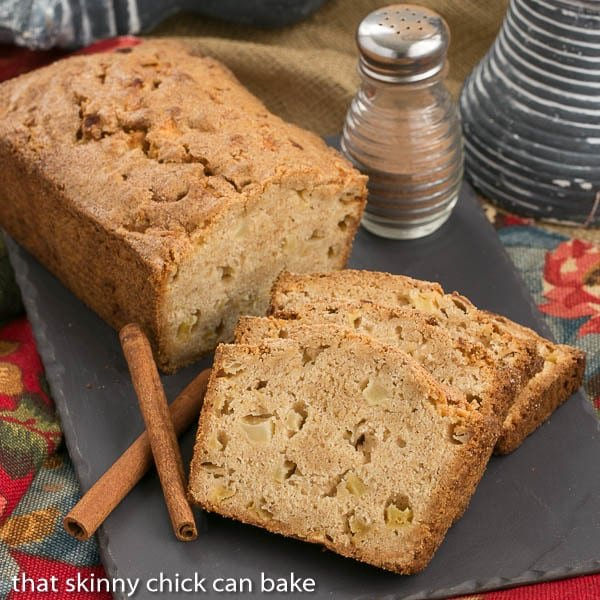Apple Bread loaf and slices on a slate tray