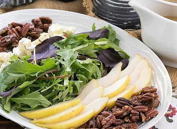 Blue Cheese and Pear Salad - A perfect fall or winter salad with candied pecans and a maple vinaigrette