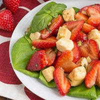 Brie Basil and Strawberry Salad | Ripe berries and creamy brie pair deliciously in this gorgeous salad