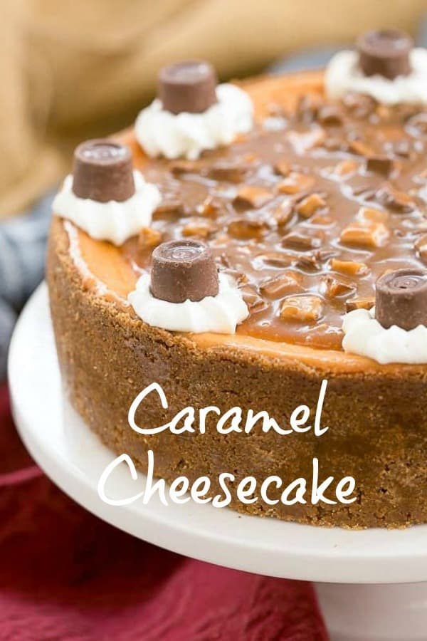 Caramel Cheesecake - A sublime dessert topped with toffee studded caramel sauce #cheesecake #caramel #toffee #dessert