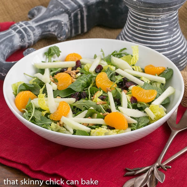 Holiday Lettuce Salad  in a white serving bowl