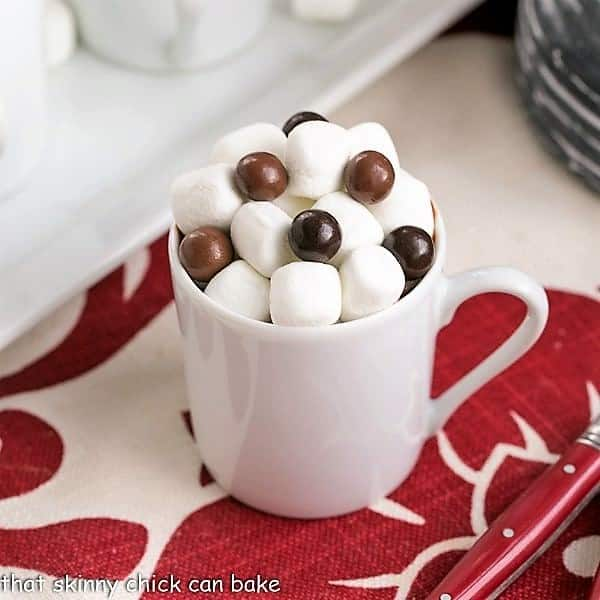 A mug of Italian Hot Chocolate topped with mini marshmallows
