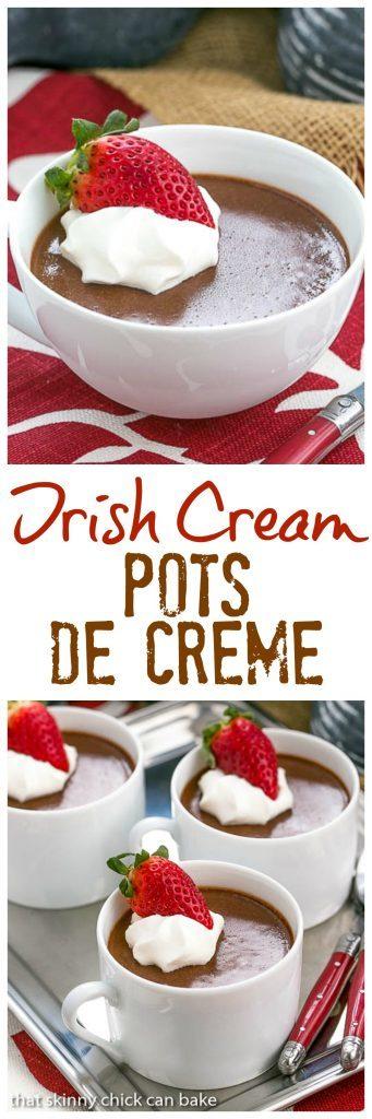 Irish Cream Pots de Creme | Rich and silky pots de creme flavored with Irish cream