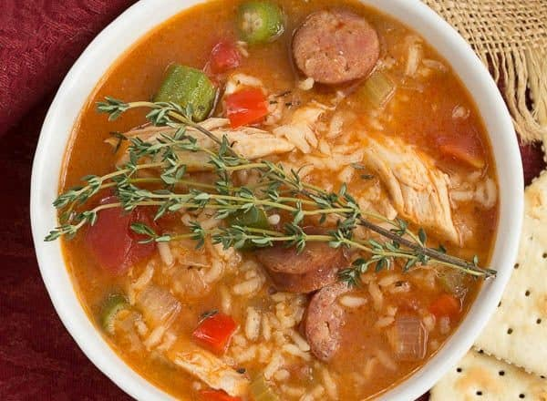 Jambalaya Soup | Packed with terrific flavor from chicken, andouille sausage, rice and more!