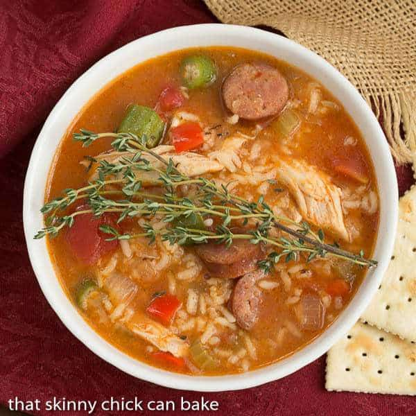 Jambalaya Soup   Packed with terrific flavor from chicken, andouille sausage, rice and more!