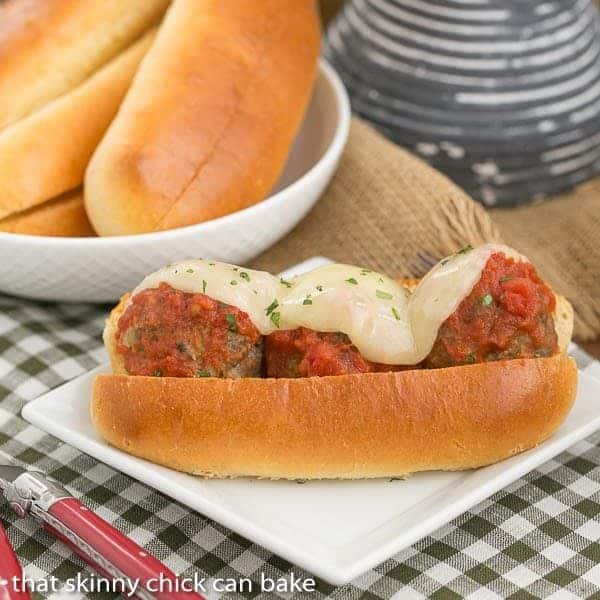 Easy Italian Meatball Subs - A marvelous sandwich filled with plump meatballs, marinara and melted Provalone