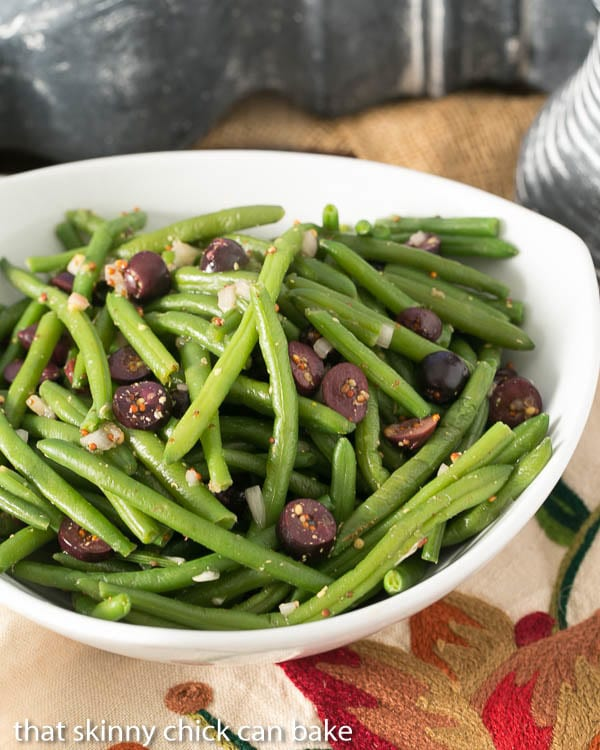 Mustardy Haricots Vert | Green beans tossed in a mustard vinaigrette and topped with Kalamata olives