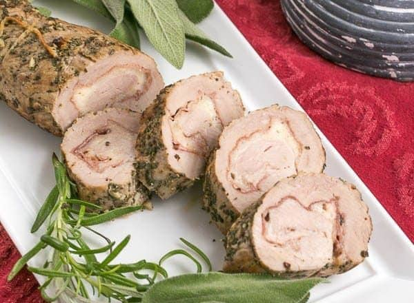 Prosciutto and Pork Pinwheels | Herb and garlic coated pork rolled around prosciutto and Parmesan for and elegant entree