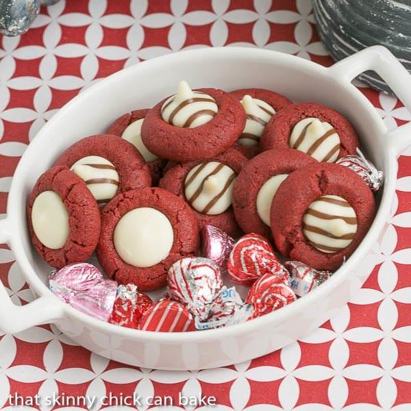 Red Velvet Thumbprints in a ceramic dish