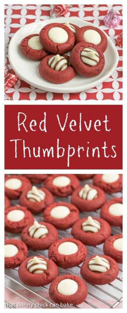 Red Velvet Thumbprints | Buttery red velvet cookies topped with white chocolate