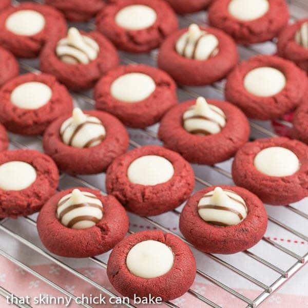 Red Velvet Thumbprints on a cooling rack