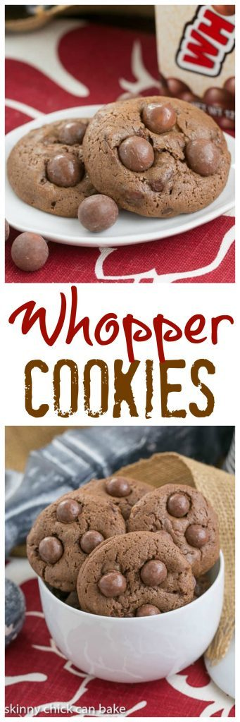 Whopper Cookies | Chocolate malt cookies studded with malted milk balls