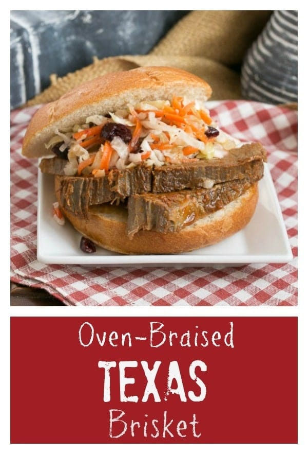 titled photo collage - Oven Braised Texas Brisket