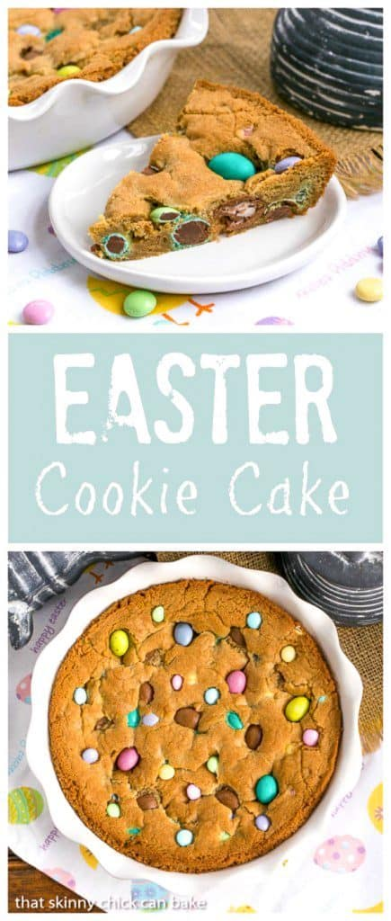 titled photo collage - Easter Cookie Cake - shown: a giant, chewy cookie packed full of chocolate chips and Easter candy