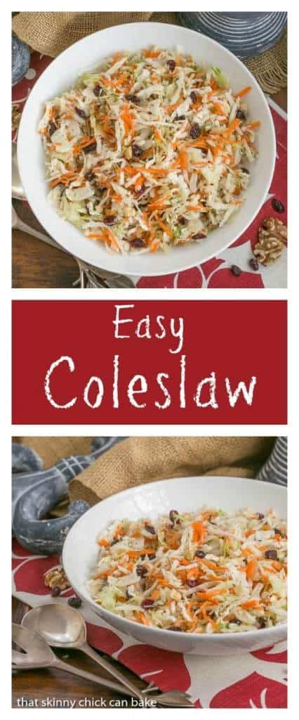 Easy Coleslaw | A simple vinaigrette plus craisins and walnuts make a fabulous salad!