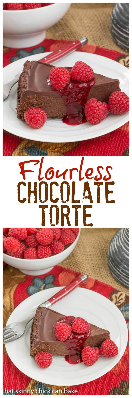 Flourless Chocolate Torte with Raspberry Sauce - A decadent gluten free flourless chocolate torte topped with chocolate ganache #chocolate #desserts #valentinesday