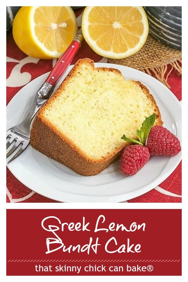 Greek Lemon Bundt Cake photo and text collage