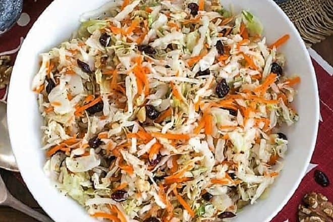 Overhead view of Easy Coleslaw in a white serving bowl
