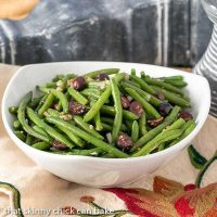 Mustardy Haricots Verts - Green beans tossed in a mustard vinaigrette and topped with Kalamata olives