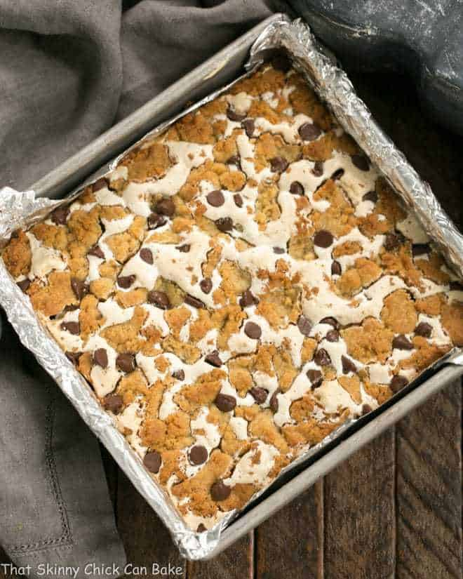 S'mores Cookie Bars in an 8 x 8-inch baking pan