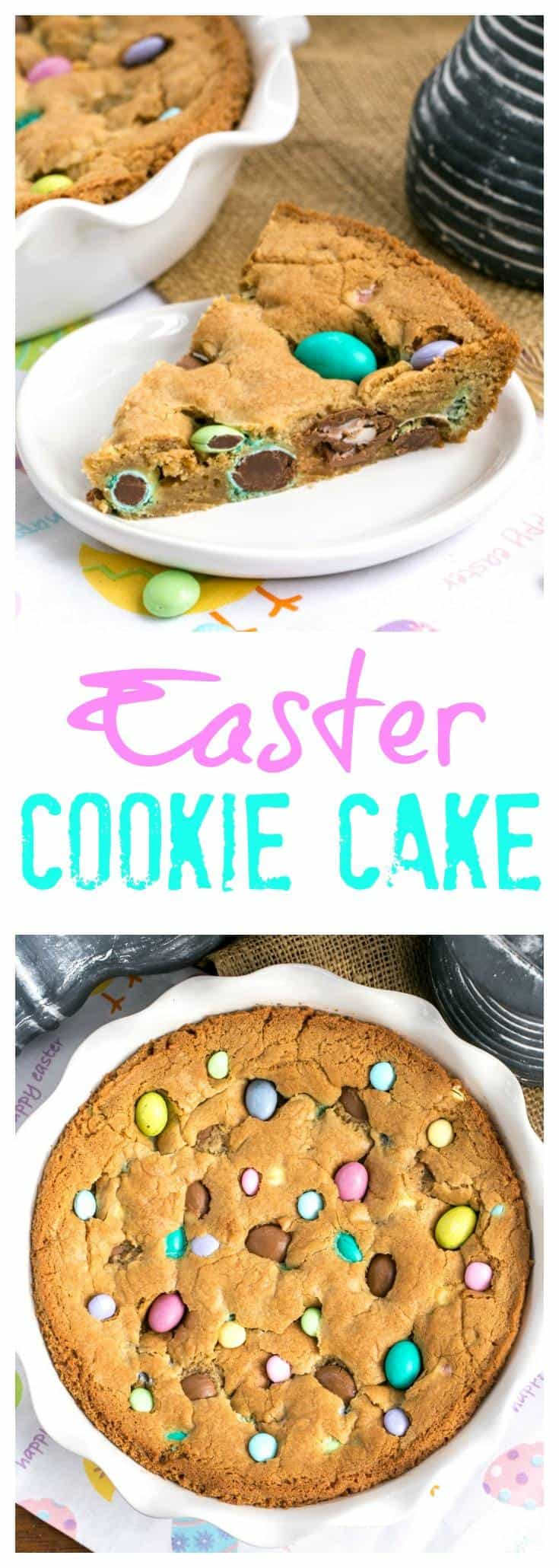 Easter Cookie Cake | A giant, chewy cookie packed full of chocolate chips and Easter candy #Easter #cookie #cookiecake #candy