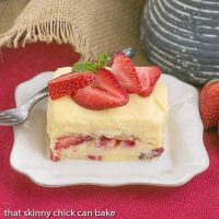 Berry Tiramisu | A strawberry twist on the Italian classic with mascarpone and Grand Marnier soaked ladyfingers!