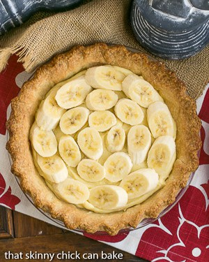 Best Banana Cream Pie overhead shot on a red and white napkin