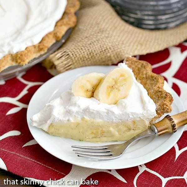 Best Banana Cream Pie slice on a white dessert plate