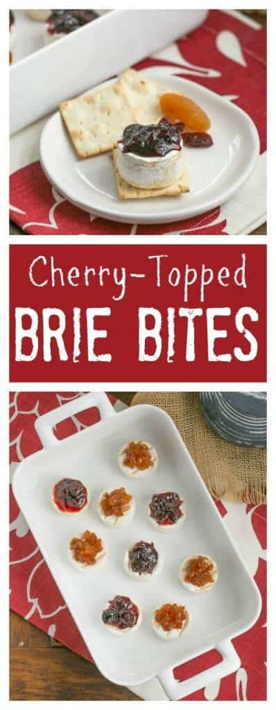 Cherry Topped Brie Bites | Mini Brie topped with a cherry compote