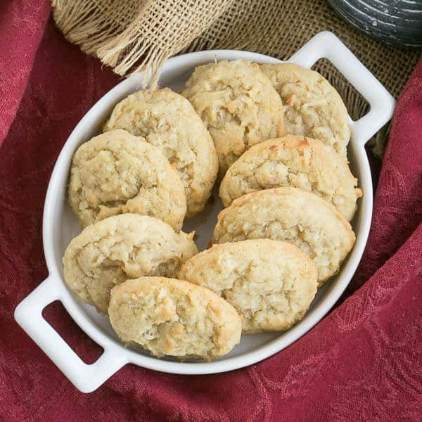 Chewy Coconut Cookies | Buttery cookies chock full of coconut!