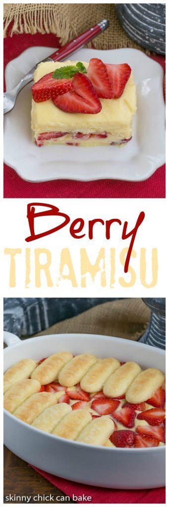 Berry Tiramisu   A strawberry twist on the Italian classic with mascarpone and Grand Marnier soaked ladyfingers!