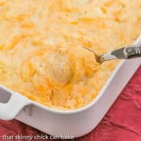 Cheesy Mashed Potato Casserole | Jazzed up mashed potatoes that are perfect for a holiday, company or just a cheesy potato craving!