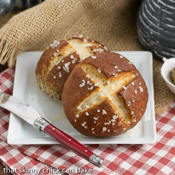 Homemade Pretzel Rolls | Chewy yeast rolls with all the fabulous flavor of a pretzel!