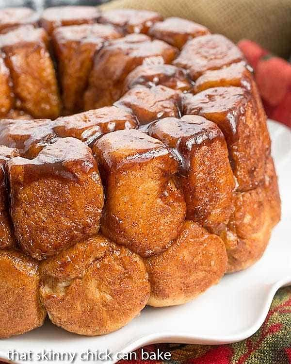 Cinnamon Bubble Roll on a white ruffled serving plate