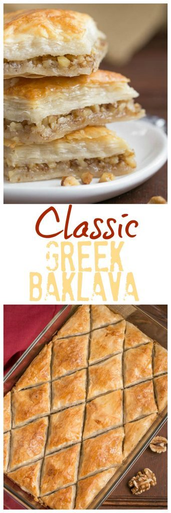 Gretchen's Classic Greek Baklava | My mom's baklava with layers of buttery filo & a walnut filling doused with orange blossom water kissed sugar syrup