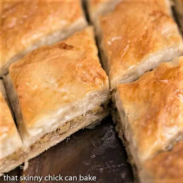 Close up on the insides of a slices of Classic Greek Baklava