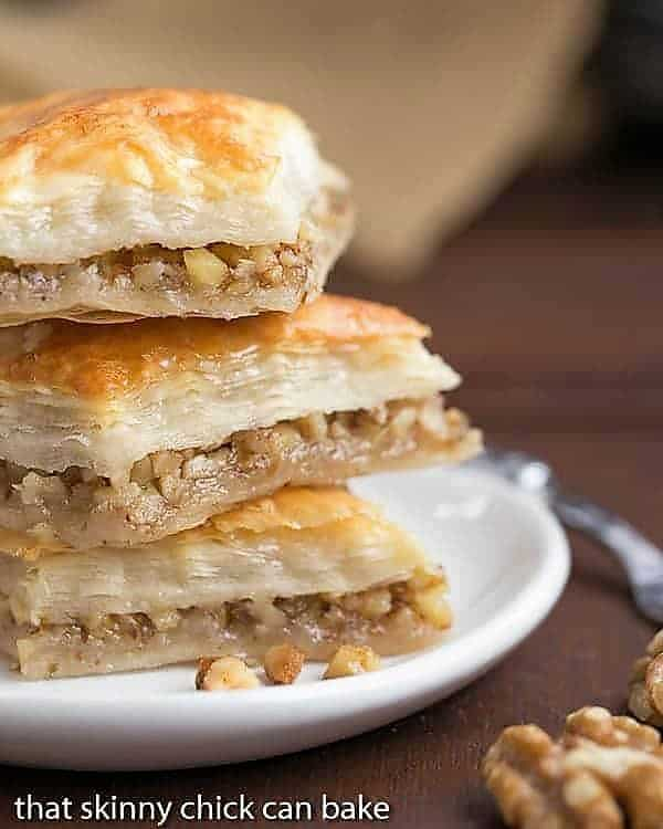 Classic Greek Baklava stacked on a small white plate